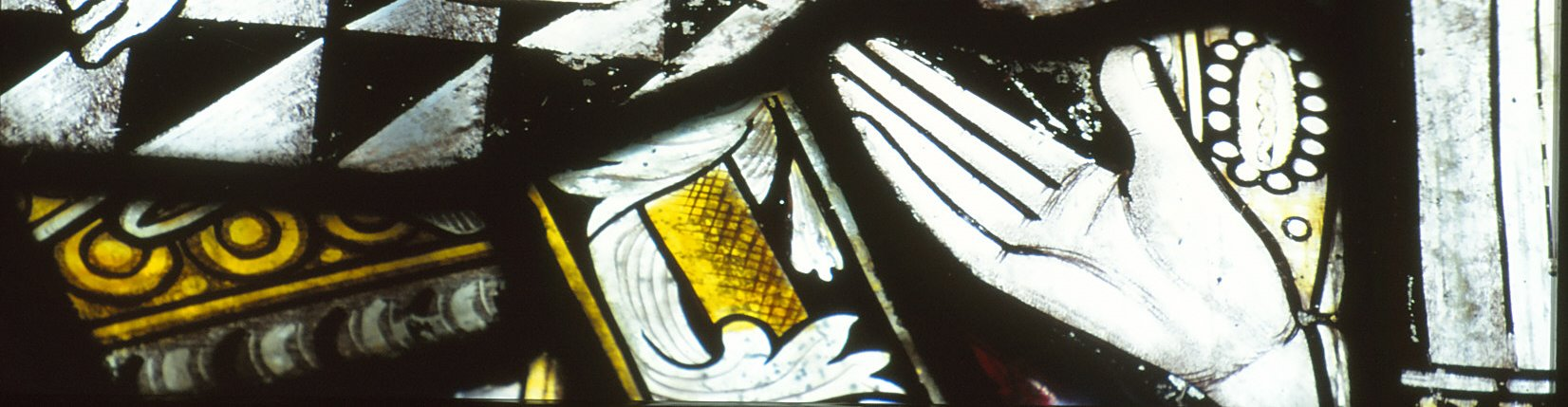 Fragments of stained glass at Llanllugan
