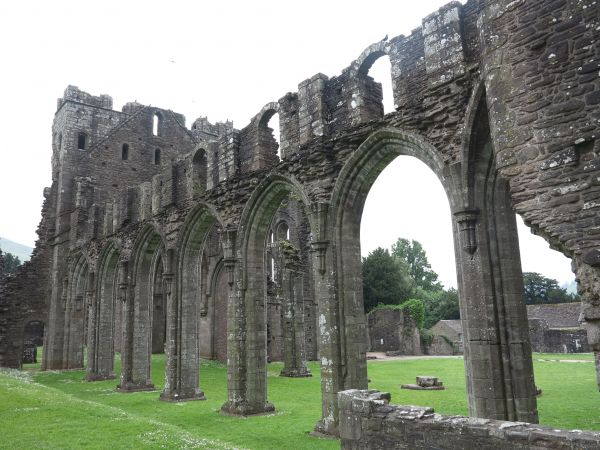 The nave arcade at Llanthony