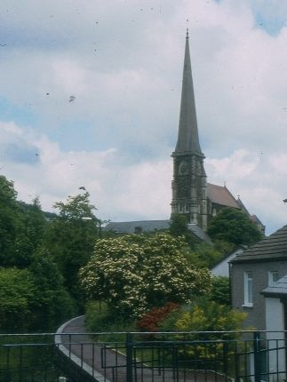 Pontardawe: the tall spire of the church