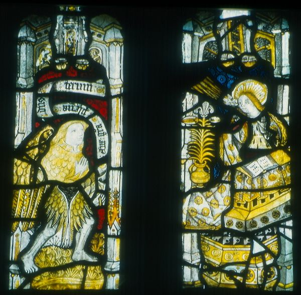 The Annunciation: stained glass at Llandyrnog