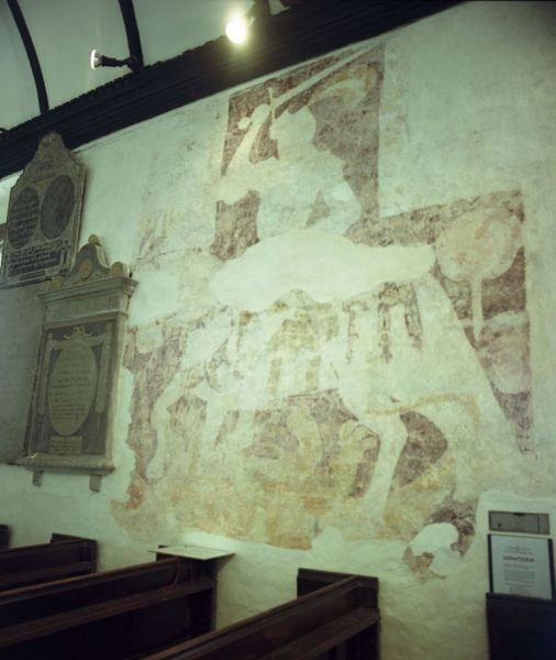 Wall painting of St George at Llangattock