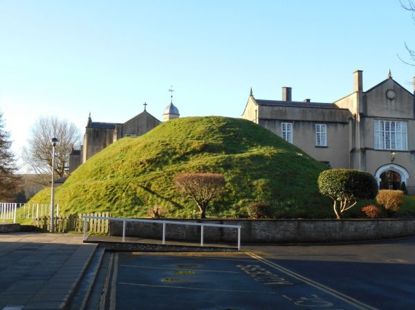 University builtings and castle mound at Lampeter