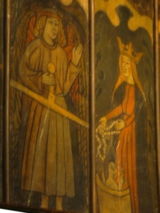The Weighing of Souls from the rood screen at Llanelian-yn-Rhos