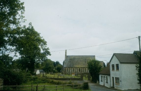 The church and village at Pentre-cwrt